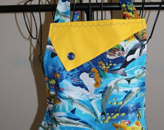Ocean Life - Women's Apron  - Marine life - dolphins - whales - sea turtles - coral reef - seaweed - pocket - ruffle - marine biologist
