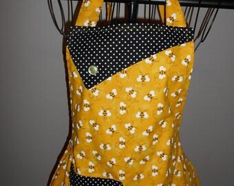 Bees - Women's Apron - pocket - ruffle - polka dots - Honey Bees
