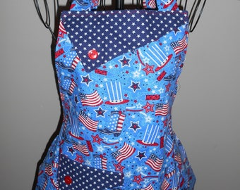 Patriotic Cowboy Boots, Flags, Uncle Sam and Fireworks Women's Apron