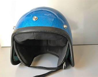 Vintage Helmet - Metal flake Flared  Motorcycle Helmet - Motorcycle Helmet