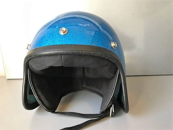 Vintage Helmet - Metal flake Flared  Motorcycle He