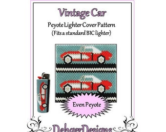 Bead Pattern Peyote(Lighter Cover)-Vintage Car