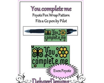 Peyote Beading Pattern (Pen Wrap/Cover)-You complete me