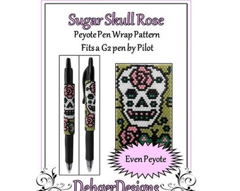 Peyote Beading Pattern (Pen Wrap/Cover)-Sugar Skull Rose