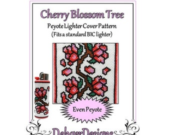 Bead Pattern Peyote(Lighter Cover)-Cherry Blossom Tree