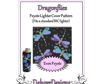 Bead Pattern Peyote(Lighter Cover)-Dragonflies