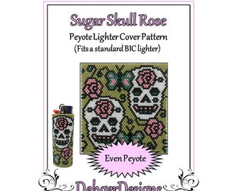 Bead Pattern Peyote(Lighter Cover)-Sugar Skull Rose