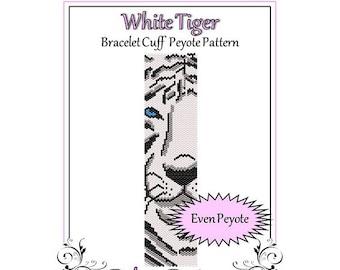 Bead Pattern Peyote(Bracelet Cuff)-White Tiger