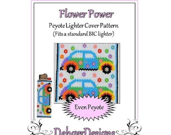 Bead Pattern Peyote(Lighter Cover)-Flower Power