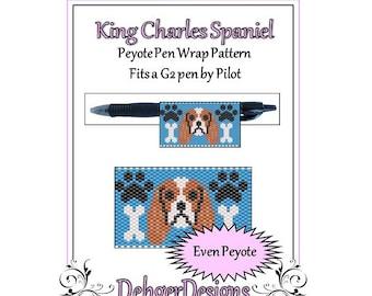 Peyote Beading Pattern (Pen Wrap/Cover)- King Charles Spaniel