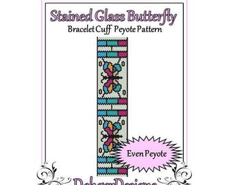 Bead Pattern Peyote(Bracelet Cuff)-Stained Glass Butterfly