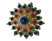 Red Blue and Green Vintage Starburst Sarah Coventry Brooch – Carnival – Eye Popping Beauty