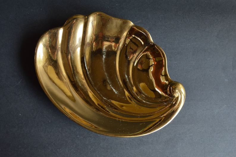 Vintage Royal Winton Golden Age Shell Shaped Dish Stunning Art Deco Design in Gold Lustre Perfect Holiday or Golden Anniversary Accent Piece