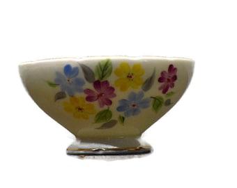 Vintage Foley Open Sugar Bowl Charming Multi-Colored Floral Design – Cottage Garden Flowers