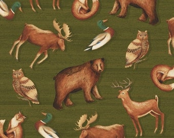 Windham Wild Woods Multi Animal Scenic 1/2 Yard Fabric for Quilting 41120