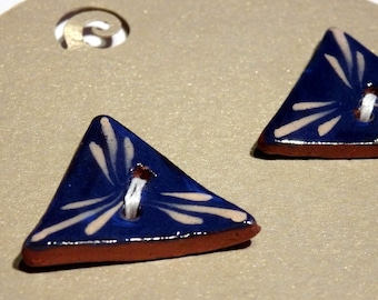 Handmade ceramic buttons -  pair of small blue triangle buttons C107