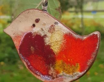 Handmade ceramic robin ornament, christmas robin, xmas decoration, robin gift uk
