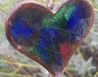 Handmade ceramic pottery heart ornament hanging heart decoration crackle glaze