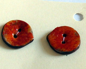 Handmade ceramic buttons - pair of small orange red  petal handpainted pottery buttons c98