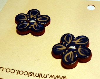 Handmade ceramic pottery buttons pair of small blue cream flower handpainted pottery buttons C102