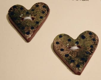 Handmade ceramic buttons -  pair of green heart handpainted pottery buttons C77