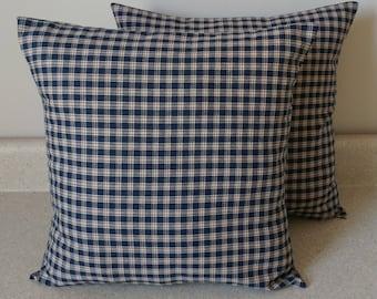2 primitive homespun pillow covers blue biege shams plaid cushions throw cottage 16 x 16
