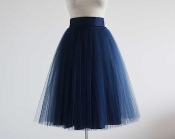 793b11bea96 Woman tulle skirt. Tea length tulle skirt. Tutu skirt for woman. Tutu skirt.  Navy tutu skirt women. Skirt.