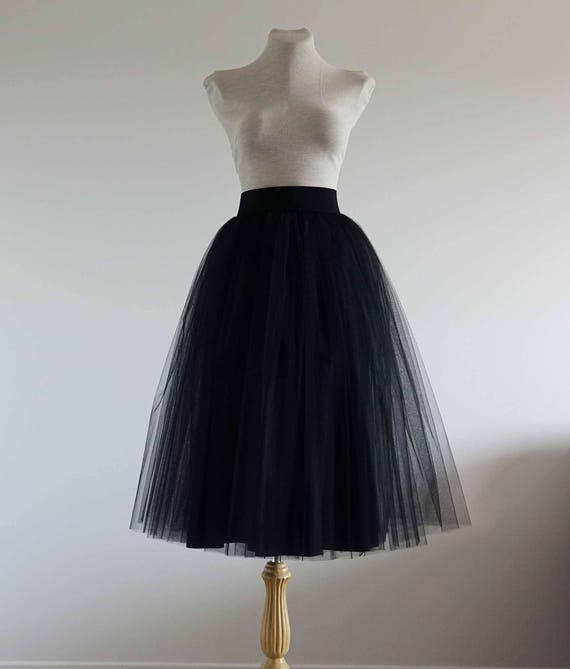 tulle skirt .black tulle skirt. tea length tulle skirt. woman | etsy