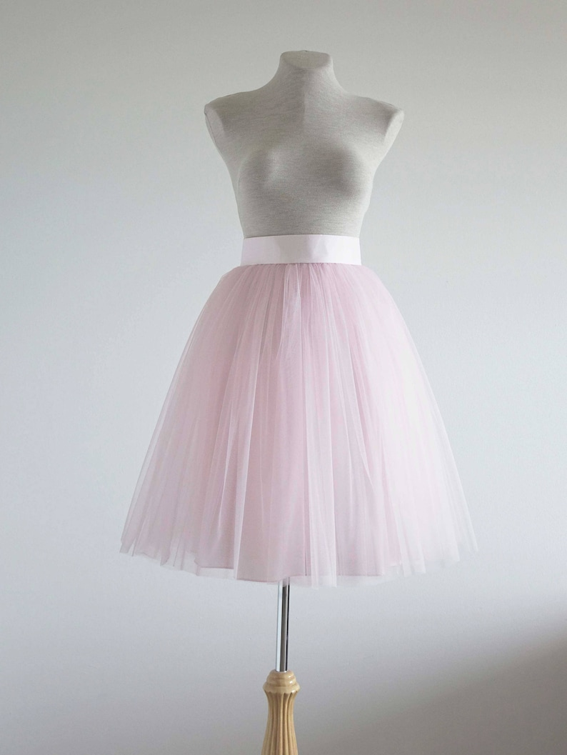 532496d02 Light pink Tulle skirt. Tea length tulle skirt. Tutu skirt | Etsy
