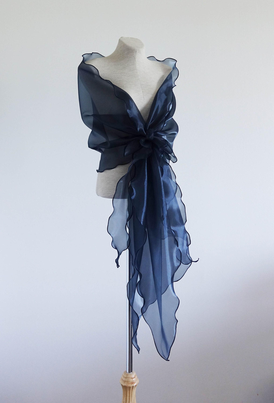 369b1401b5a Navy blue organza shawl. Mother of the bride shawl Bridal