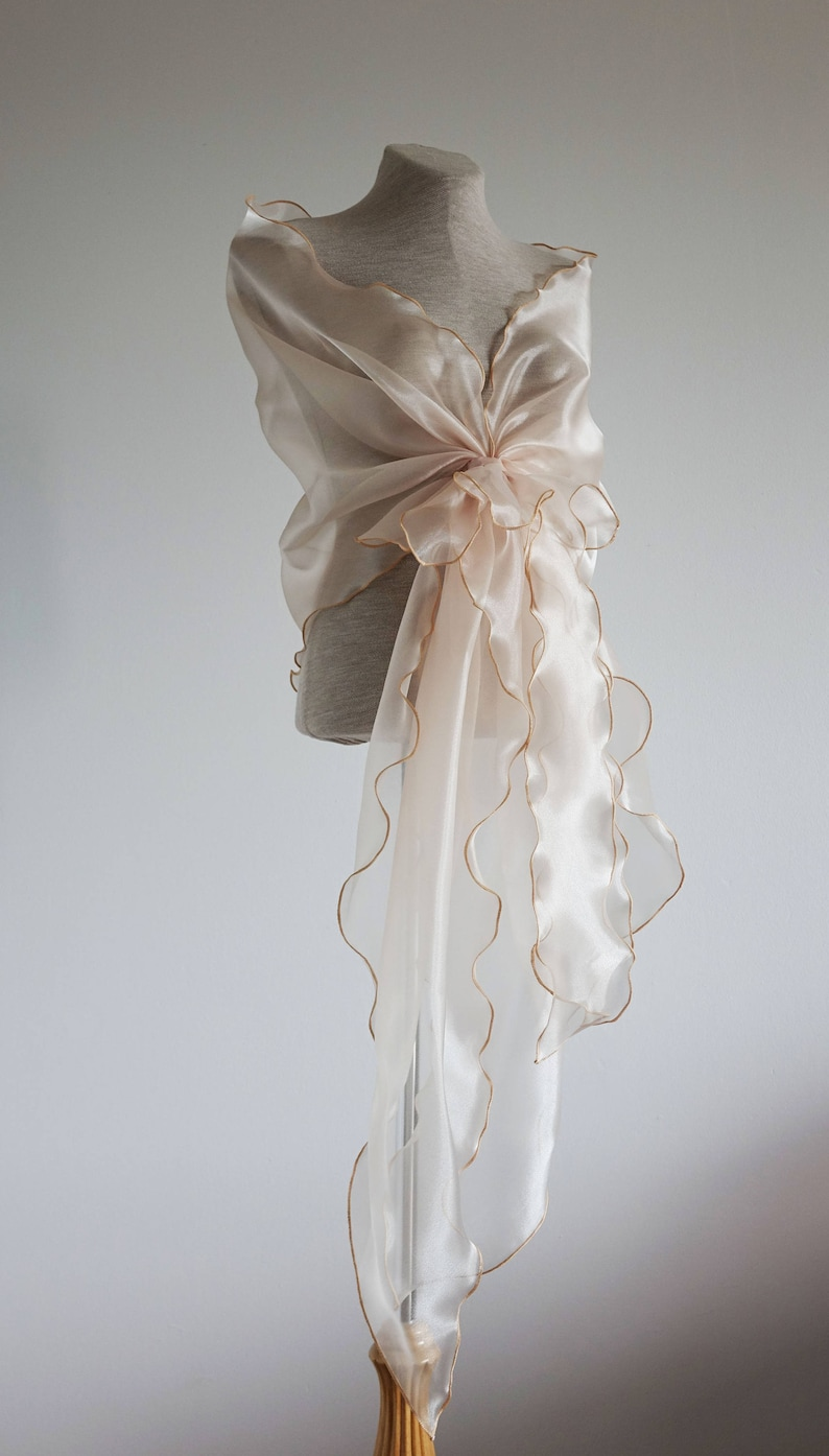 Evening shawl Woman wrap champagne organza shawl. Organza image 0