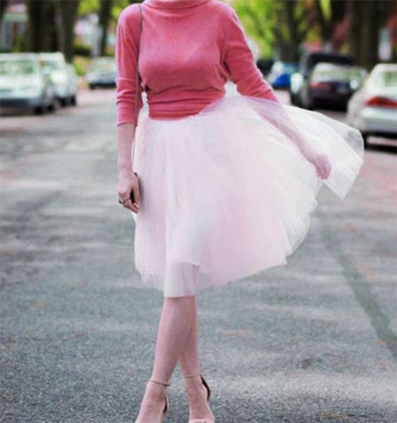 57eaba91fc18 Light pink Tulle skirt. Tea length tulle skirt. Women tulle | Etsy