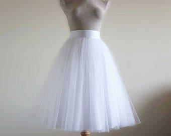 White Tulle Skirt . Wedding tulle skirt. Tea length tulle skirt. Bridal gown separates. Women tulle skirt. Bridal tulle skirt. Tutu skirt .