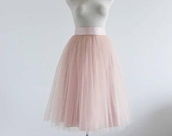 Blush  tulle skirt. Tea length tulle skirt. Women tulle skirt. Woman skirt. Bridesmaid tutu. Bridal tulle skirt. Tulle skirt. Woman skirt.