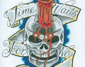 Items Similar To Time Waits For No Man Skull Tattoo Design On Etsy