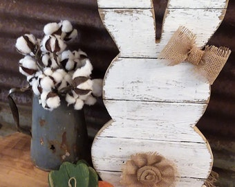 LR-Rustic Wood Rabbit, Rustic Easter Decor, Rustic Farmhouse Decor, Rustic Porch Decor,  Farmhouse Porch Decor, Distressed White Rabbit