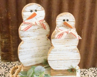 Wood Snowmen Set of 2, Rustic Snowman, Farmhouse Snowman, Rustic Holiday Table Decor, Primitive Snowman