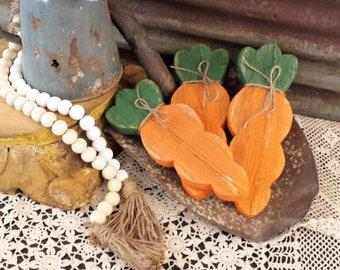 LBF-Rustic Wood Carrots, Rustic Easter Decor, Carrot Bowl Filler, Pallet Carrots, Farmhouse Porch Decor, Wood Carrot Single or Set