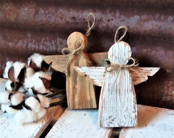 3-5 Business day wait before shipping. Rustic Farmhouse Angel Ornament, Shabby Chic Angel, Reclaimed Wood Angel, Rustic Christmas Ornaments