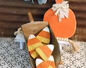 Wood Candy Corn Bowl Fillers, Rustic Candy Corn, Farmhouse Fall Decor, Rustic Fall Decor, Fall Porch Decor, Candy Corn Single or Set