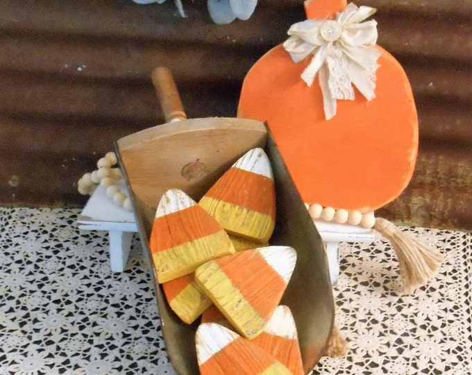 Featured listing image: Wood Candy Corn Bowl Fillers, Rustic Candy Corn, Farmhouse Fall Decor, Candy Corn Single (1) or Set