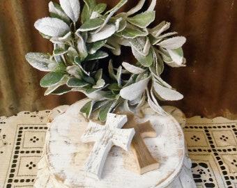 Rustic Farmhouse Cross Ornament, Shabby Chic Cross, Reclaimed Wood Cross, Rustic Christmas Ornaments, Farmhouse Cross