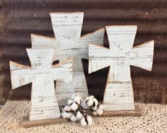 Reclaimed Wood Cross Single or Set of 3, Rustic Porch Decor, Rustic Cross Decor, Table Top Cross, Farmhouse Cross, Wooden Cross