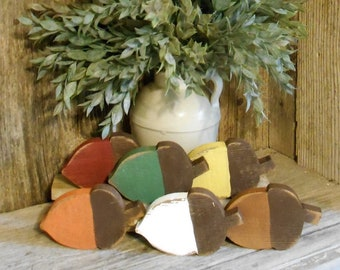 Small  Rustic Wood Acorn, Fall Decor, Fall Tray Decor, Harvest Decor, Farmhouse Fall Decor, Tiered Tray Decor