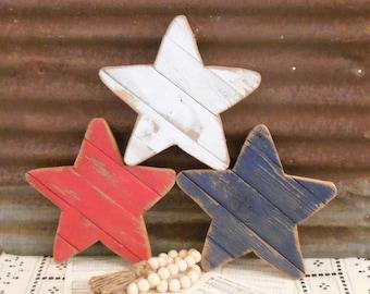 Rustic Wood Star Set of 3 or Single, Patriotic Decor, Farmhouse Decor, Memorial Day Decor, July 4th Decor, Pallet Star, Rustic Porch Decor
