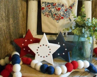 Small Wood Star, Patriotic Decor, Americana Decor, July 4th Decor, Red Star, White Star, Blue Star, Tiered Tray Decor