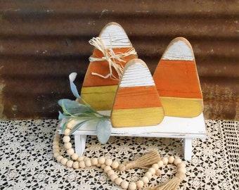 Wood Candy Corn  Single or Set of 3, Farmhouse Fall Decor, Candy Corn, Fall Tiered Tray Decor