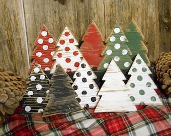 Mini Wood Christmas Tree, Rustic Tree Decor, Tiered Tray Decor,  Christmas Table Top Decor