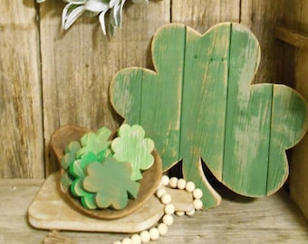 Shamrock Bowl Fillers, St. Patrick's Day Decor,  Bowl Fillers, Wood Shamrock, Wood 3 Leaf Clover, Shamrock  Single (1) or Set