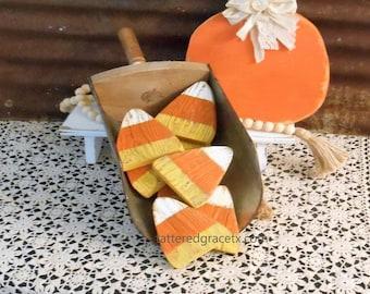 Wood Candy Corn Bowl Fillers, Rustic Candy Corn, Farmhouse Fall Decor, Candy Corn Single (1) or Set